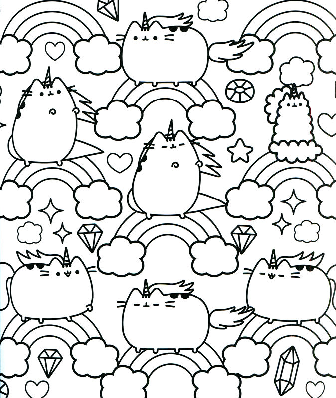 Pusheen Unicorn Rainbow Coloring Page