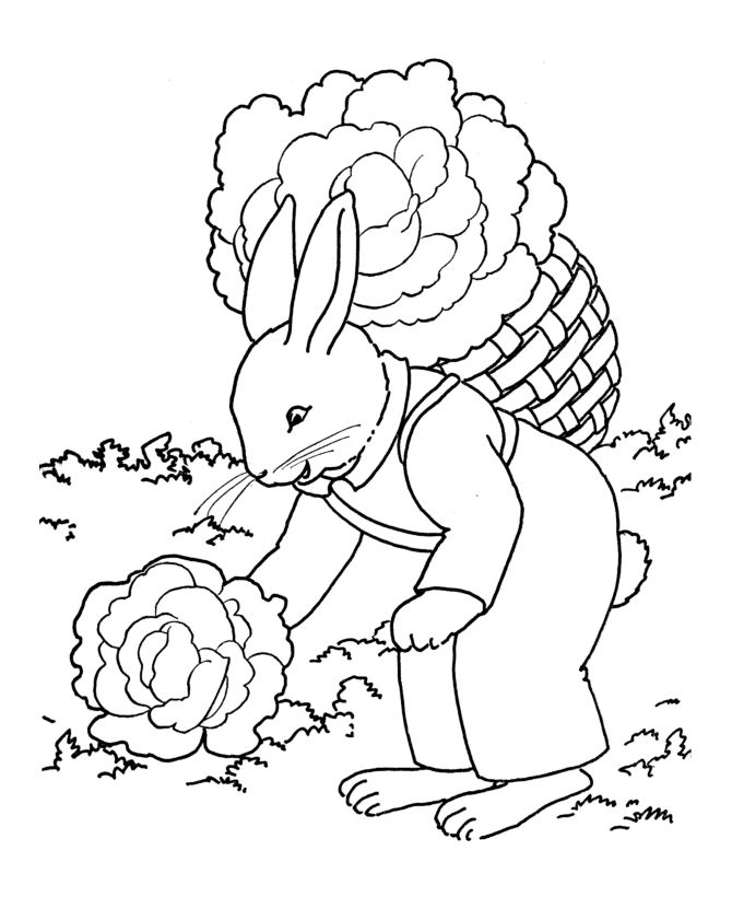 Rabbit Gardening Coloring Pages 001