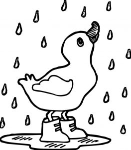 Rain duck coloring page