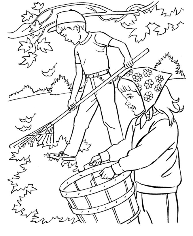 Rake Fall Leaves Coloring Pages