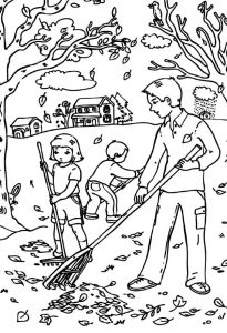 Raking fall leaves coloring page