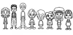 Random kid character designs cartoonize coloring page