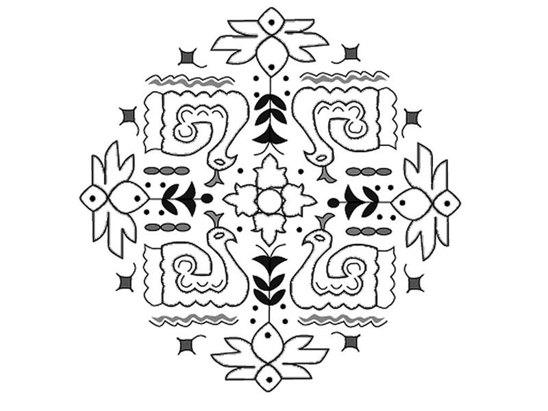 Peacock rangoli coloring pages | 600x800