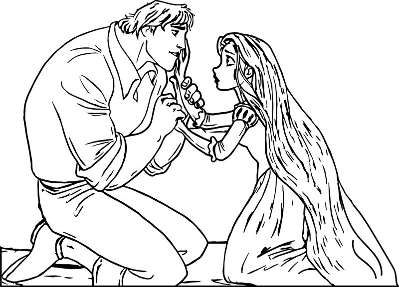 Rapunzel And Bastian Flynn Tangled Coloring Page