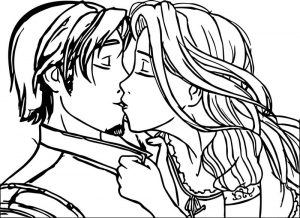 Rapunzel and flynn couple kiss coloring page