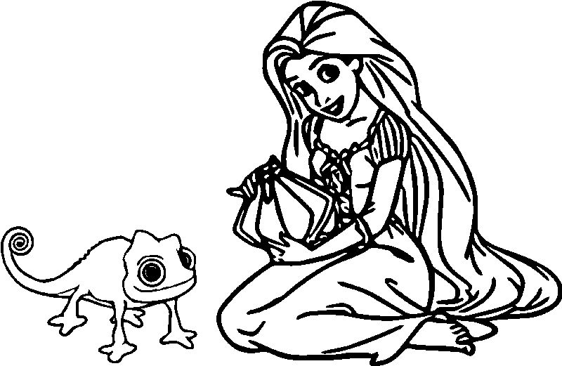Rapunzel And Flynn Girl And Animal Coloring Page