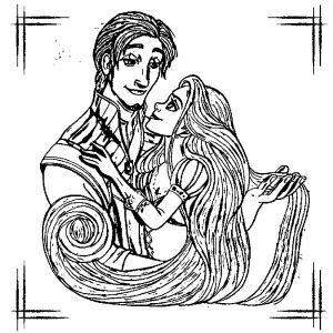 Rapunzel and flynn night coloring page