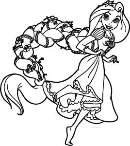 Rapunzel and flynn run coloring page