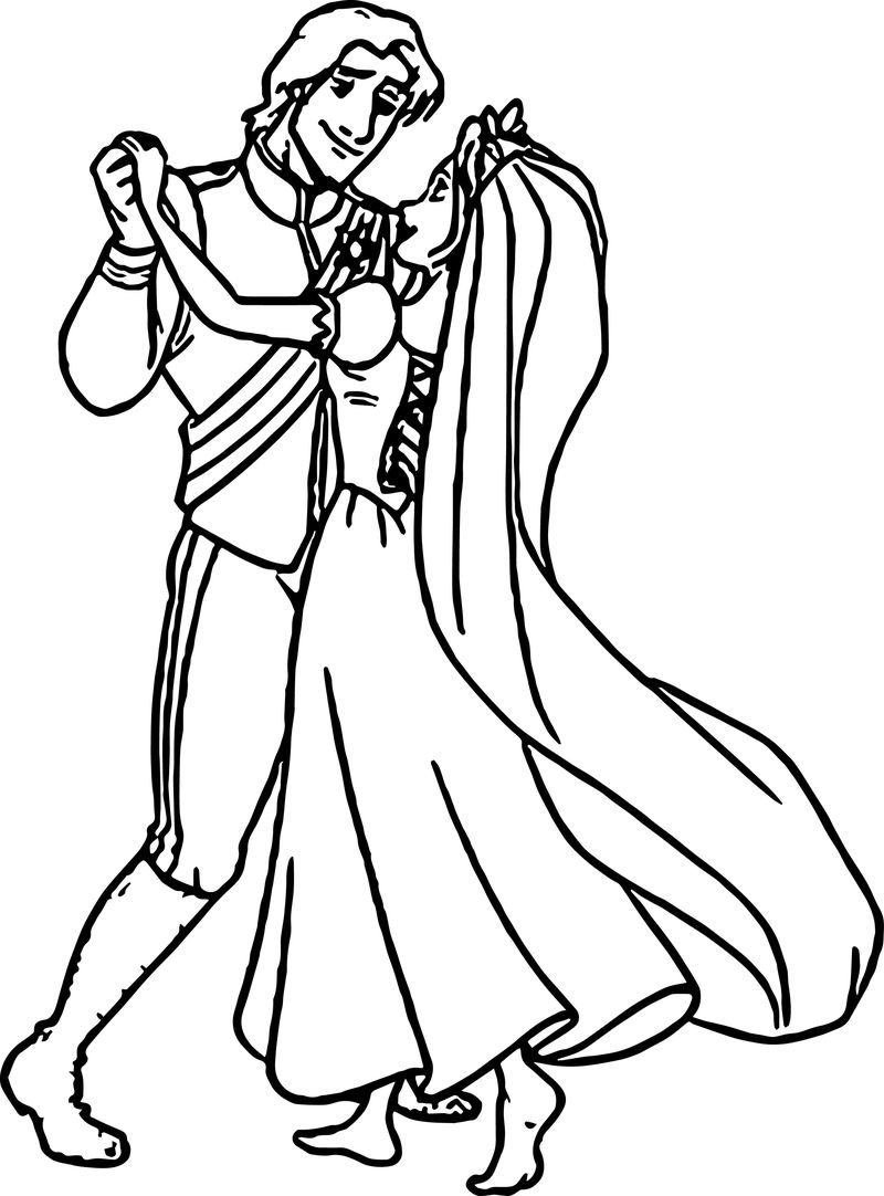 Rapunzel And Flynn Wedding Dance Coloring Page