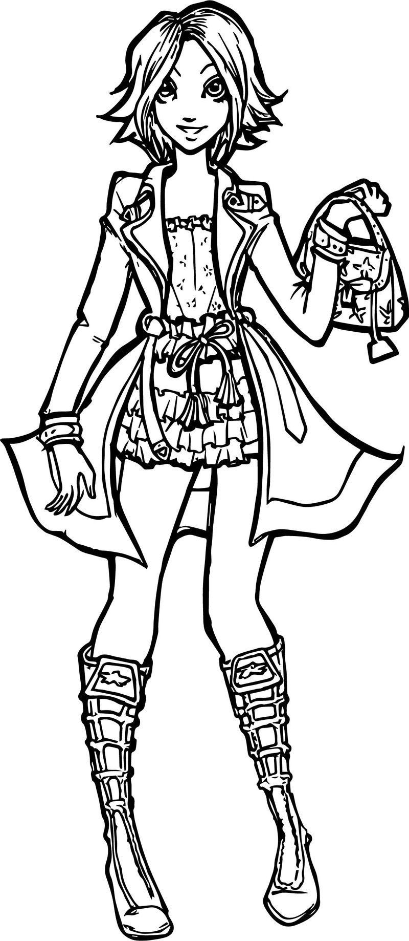 Rapunzel Woman Modern Girl Coloring Page