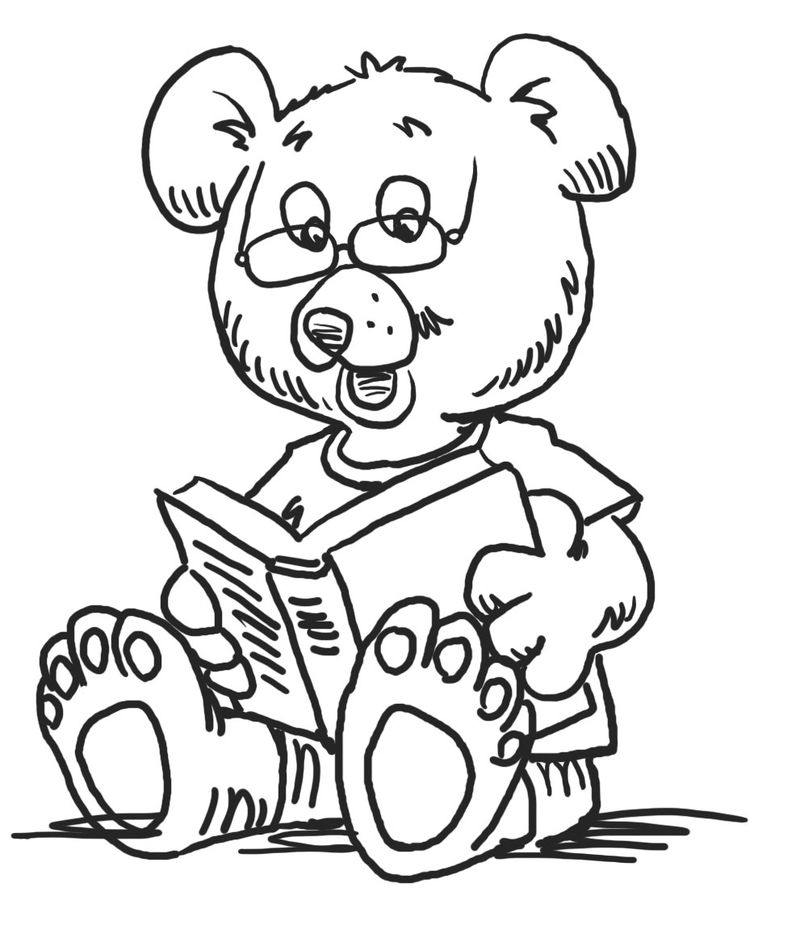 Reading Bear Kindergarten Coloring Pages