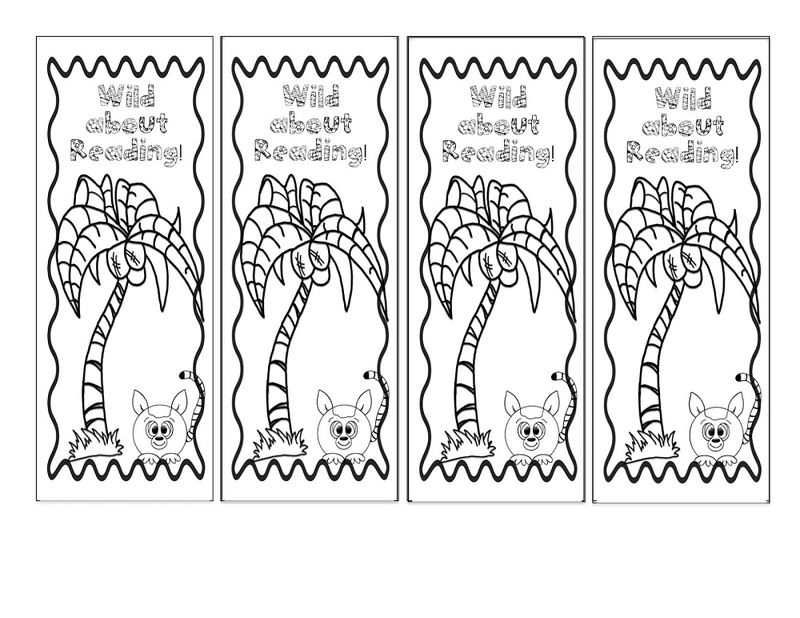 Reading Bookmarks To Colour In Page