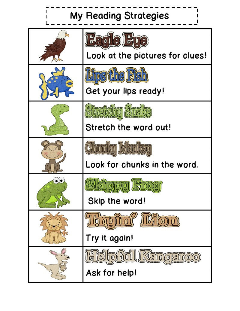 Reading Strategies To Print For Kids 001