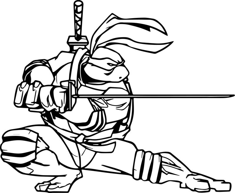 Ready Turtle For War Ninja Coloring Page