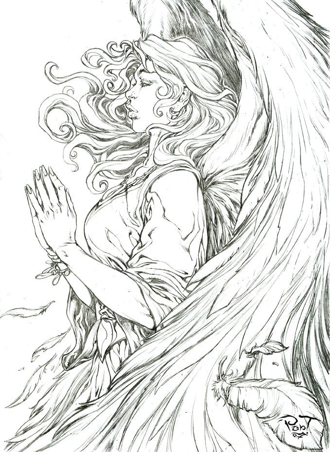 Realistic Angel Drawing For Adults To Color