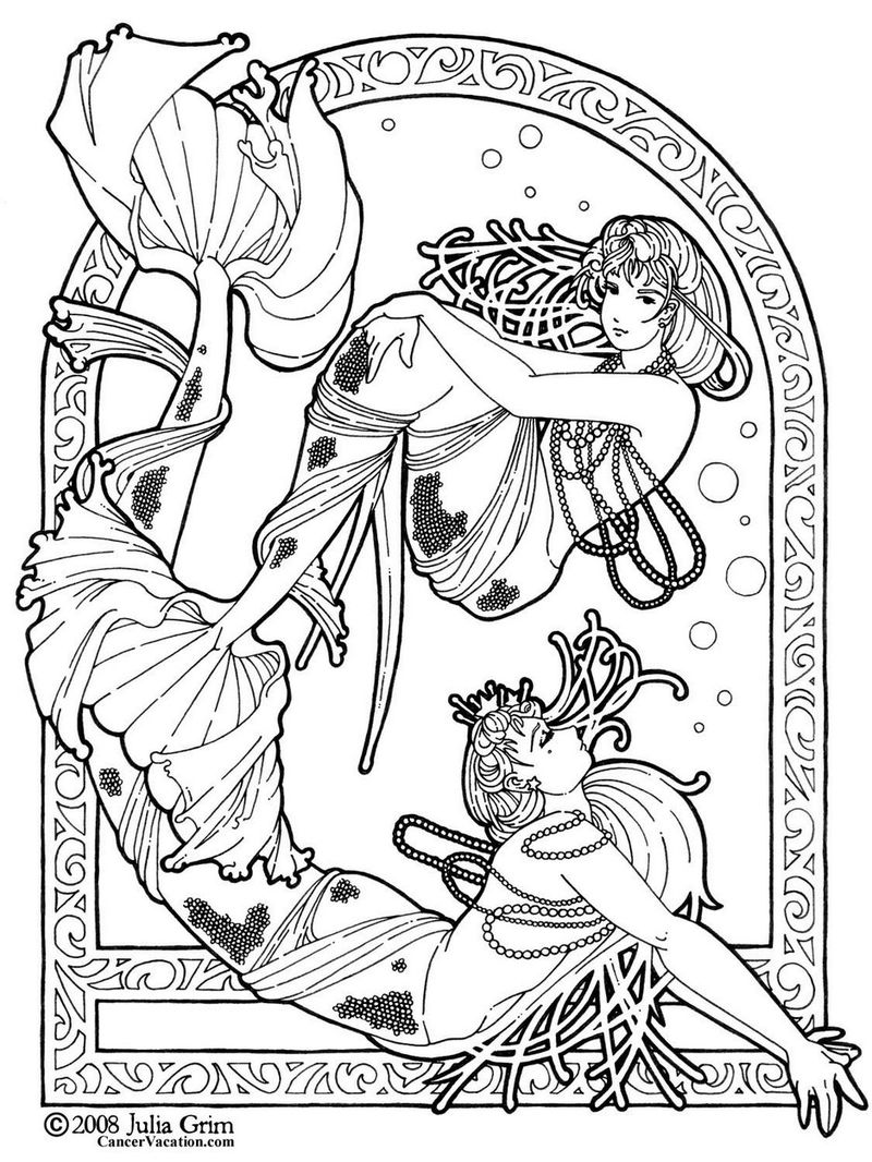 Realistic Mermaid Designs Coloring Sheets For Adults