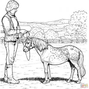 Realistic pony coloring page 1