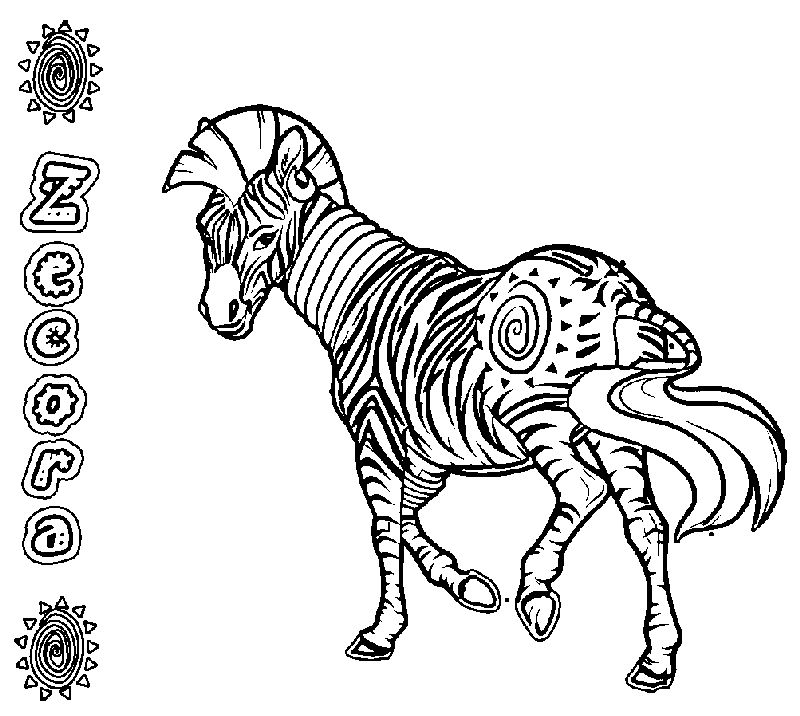 Realistic Zecora Horse Coloring Page