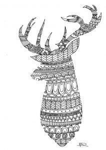 Reindeer coloring page for adults