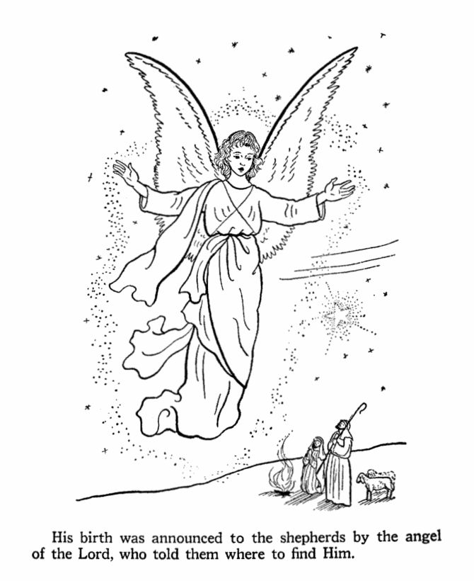 Religious Angel Announcing Jesus Birth Coloring Page