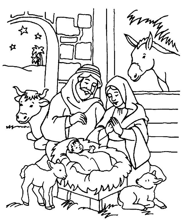 Religious christmas coloring pages kids