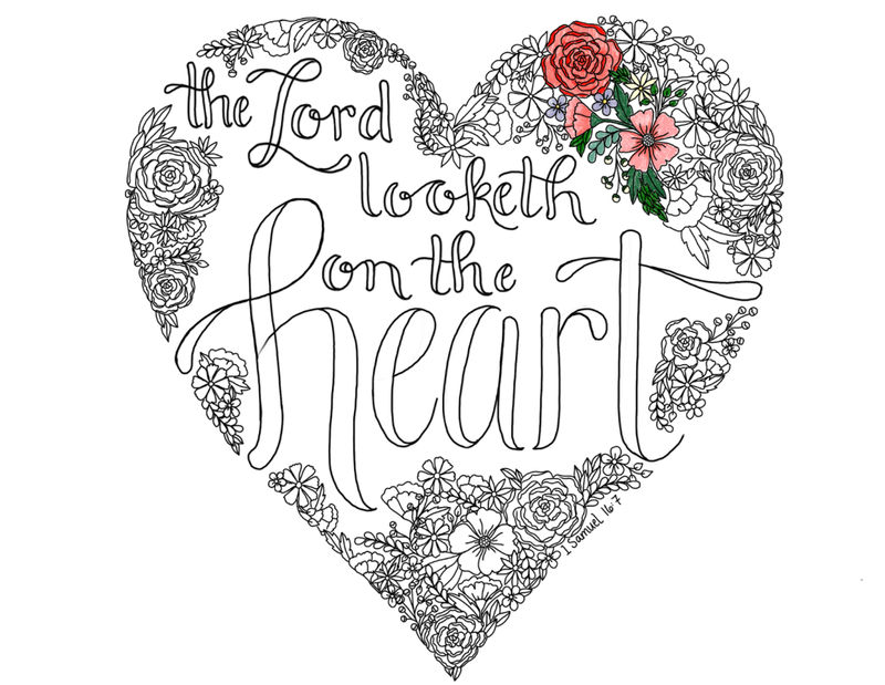 Religious Heart Coloring Page