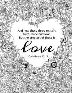Religious valentines day coloring page for adults
