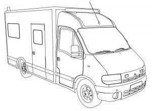 Renault Master Ambulance Car Coloring Page