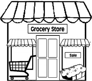 Restaurant building simple restaurant coloring page