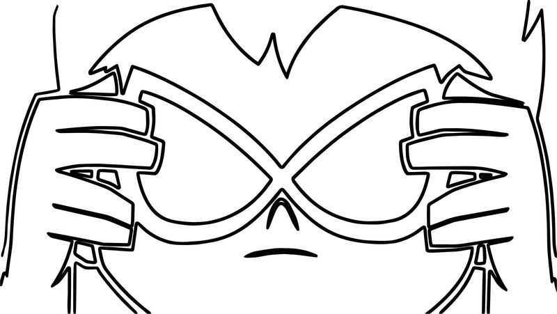 Robin Prepares To Remove His Mask Cartoon Coloring Page