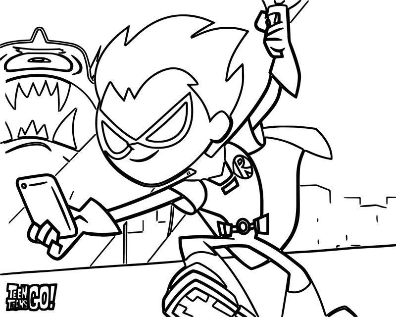 Robin Teen Titans Go Selfie Coloring Page