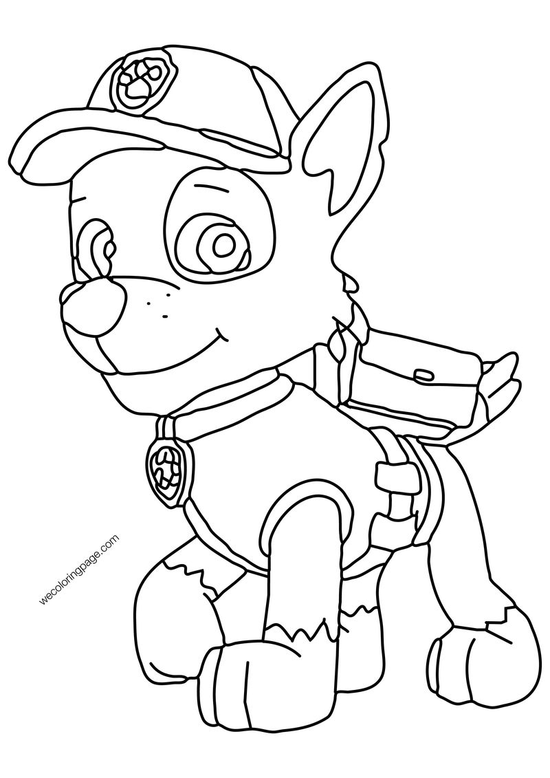 Rocky Recycler Pup Paw Patrol Dog Coloring Page