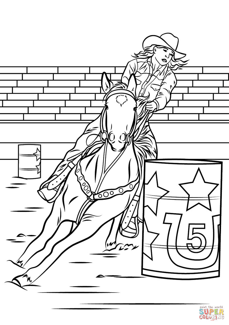 Rodeo Barrel Horse Coloring Page