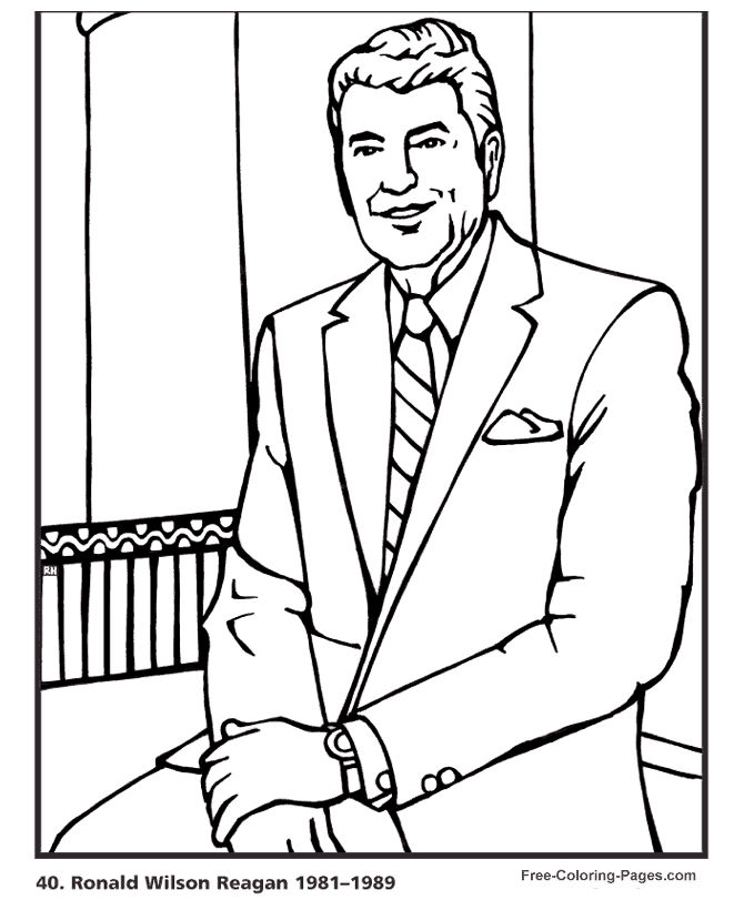 Ronald Reagan Presidents Day Coloring Page