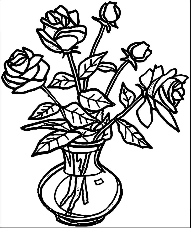 Rose Flower Coloring Page 005