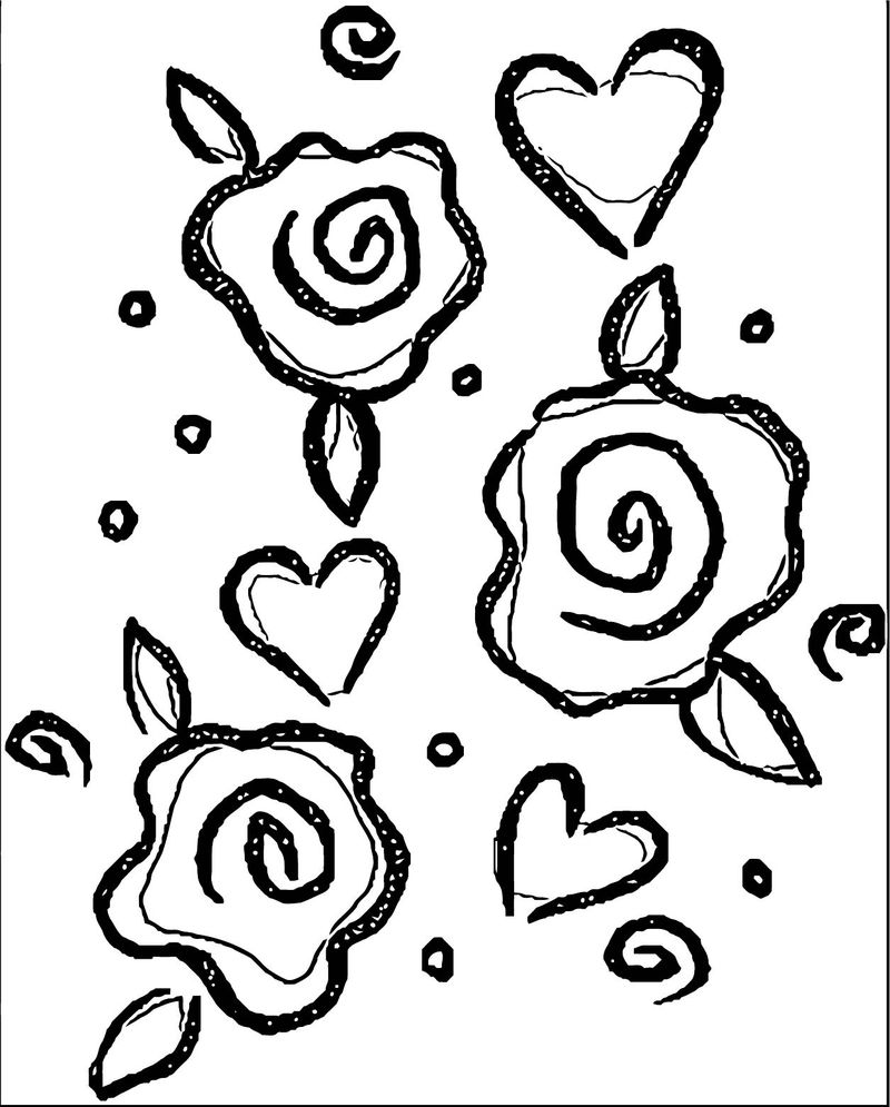 Rose Flower Coloring Page 107