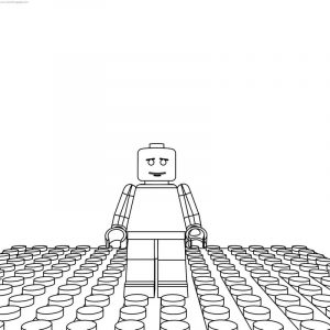 Sad lego man coloring page