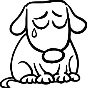 Sad puppy cartoon illustration of cute dog dog puppy coloring page