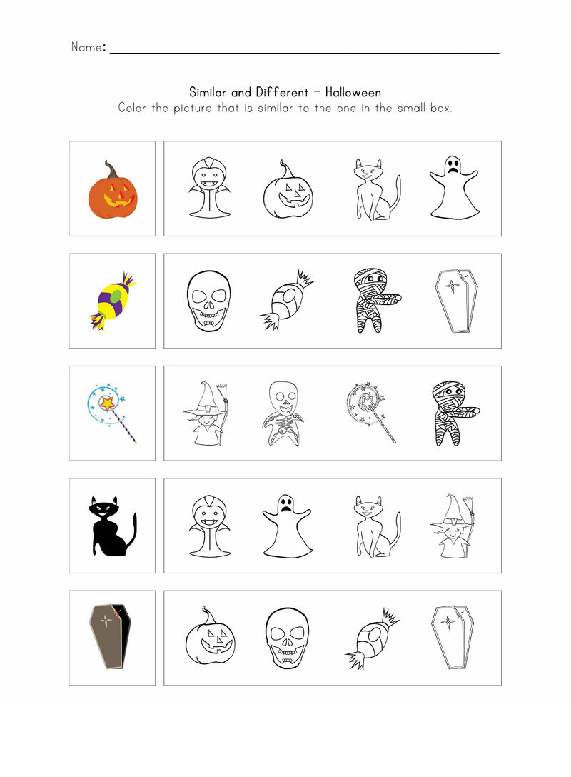 Same And Different Worksheets Halloween