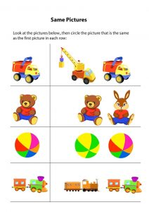 Same different worksheets toy