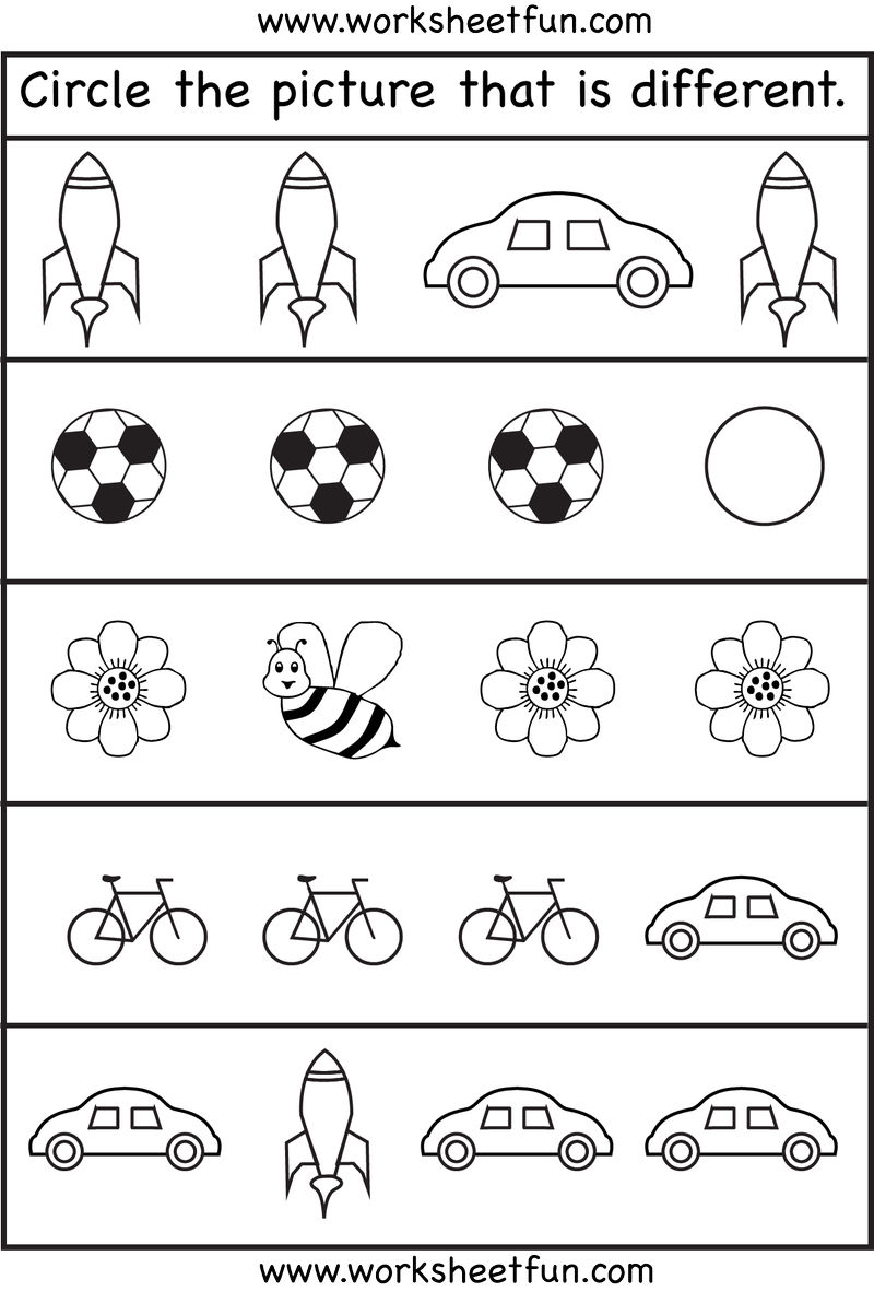Same Or Different Worksheets To Color