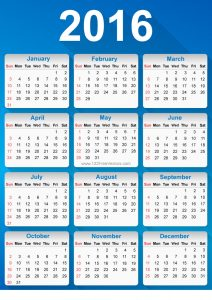 Sample calendar blue color