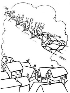 Santa and reindeer over rooftops coloring page
