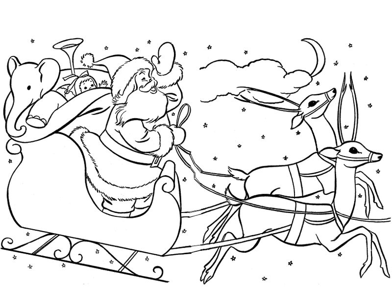 Santa And Reindeer Scene Coloring Page