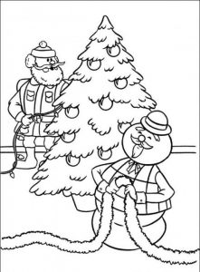 Santa and sam the snowman rudolph coloring pages