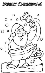 Santa bells merry christmas coloring pages