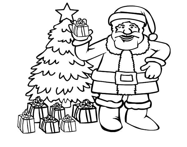 Santa Claus With Christmas Tree Coloring Pages - Coloring ...