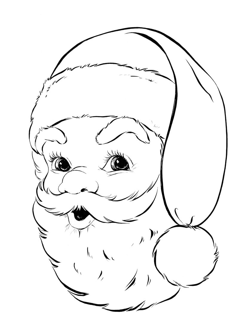 Santa Head Christmas Coloring Pages For Preschoolers