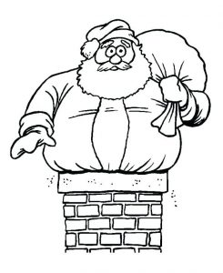 Santa in chimney coloring page