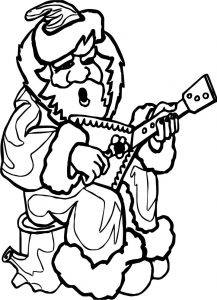 Santa playing guitar playing the guitar coloring page